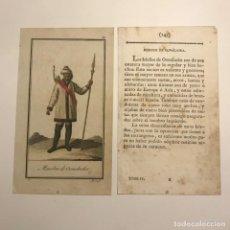 Arte: HOMBRE DE OONALASKA 1790-1800 GRABADO ILUMINADO A MANO. Lote 148328246