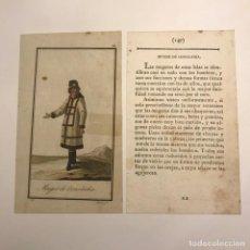 Arte: MUJER DE OONALASKA 1790-1800 GRABADO ILUMINADO A MANO. Lote 148328942