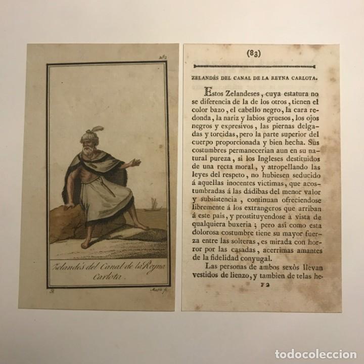ZELANDÉS DEL CANAL DE LA REINA CARLOTA 1790-1800 GRABADO ILUMINADO A MANO (Arte - Grabados - Antiguos hasta el siglo XVIII)