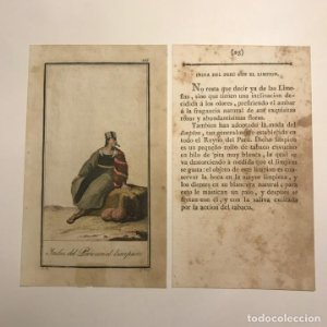 India del Perú con el limpión 1790-1800 Grabado iluminado a mano