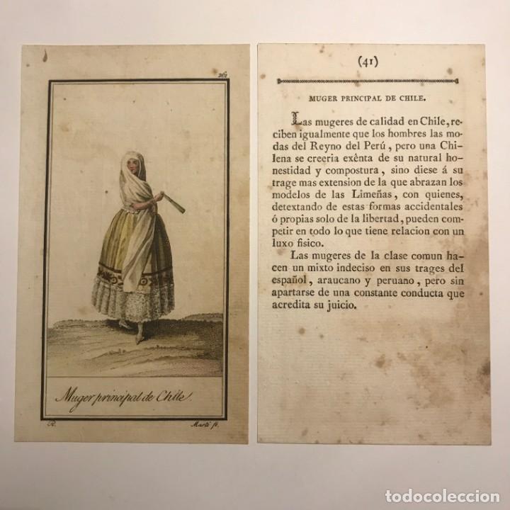 MUJER PRINCIPAL DE CHILE 1790-1800 GRABADO ILUMINADO A MANO (Arte - Grabados - Antiguos hasta el siglo XVIII)