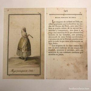 Mujer principal de Chile 1790-1800 Grabado iluminado a mano
