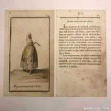 Arte: MUJER PRINCIPAL DE CHILE 1790-1800 GRABADO ILUMINADO A MANO. Lote 148329290