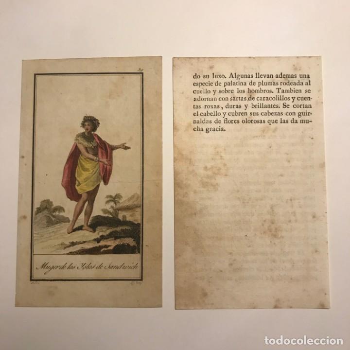 Mujer de las Islas de Sandwich 1790-1800 Grabado iluminado a mano