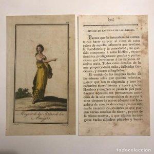 Mujer de las Islas de los amigos 1790-1800 Grabado iluminado a mano