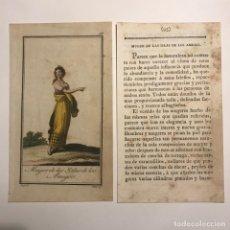 Arte: MUJER DE LAS ISLAS DE LOS AMIGOS 1790-1800 GRABADO ILUMINADO A MANO. Lote 148329602