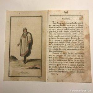 Araucano 1790-1800 Grabado iluminado a mano