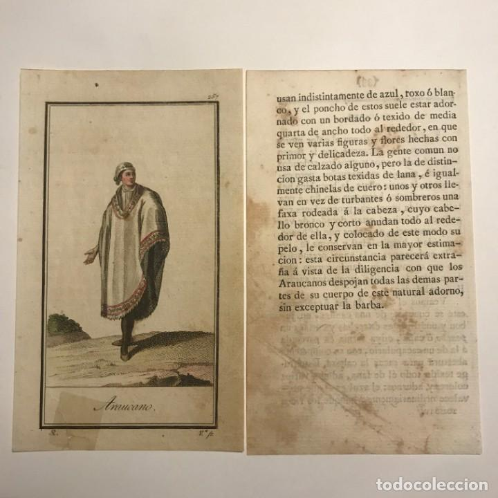 Arte: Araucano 1790-1800 Grabado iluminado a mano - Foto 2 - 148329850
