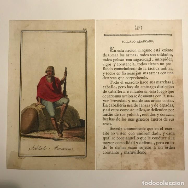 Soldado Araucano 1790-1800 Grabado iluminado a mano