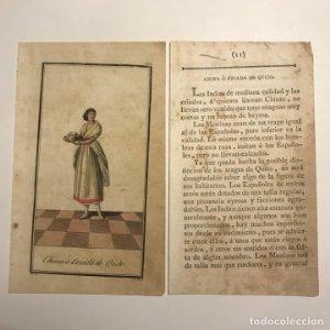 China ó Criada de Quito 1790-1800 Grabado iluminado a mano