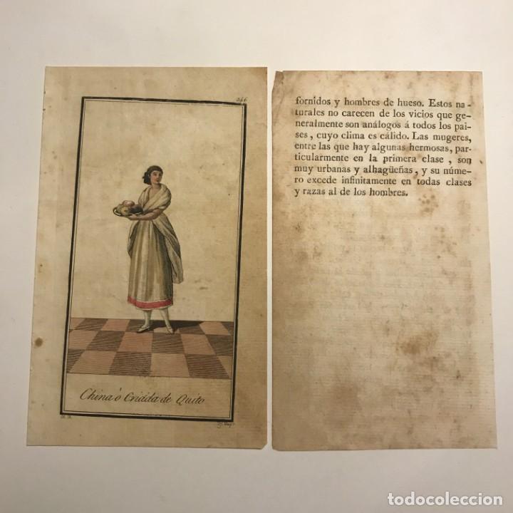 China ó Criada de Quito 1790-1800 Grabado iluminado a mano - 148330018