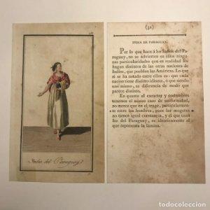 India de Paraguay 1790-1800 Grabado iluminado a mano