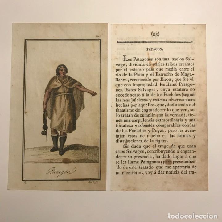 PATAGON 1790-1800 GRABADO ILUMINADO A MANO (Arte - Grabados - Antiguos hasta el siglo XVIII)