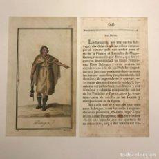Arte: PATAGON 1790-1800 GRABADO ILUMINADO A MANO. Lote 148330238