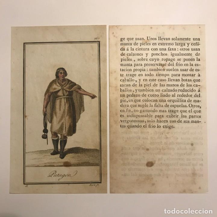 Arte: Patagon 1790-1800 Grabado iluminado a mano - Foto 2 - 148330238