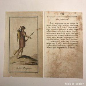 Indio Chiriguano 1790-1800 Grabado iluminado a mano