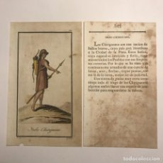 Arte: INDIO CHIRIGUANO 1790-1800 GRABADO ILUMINADO A MANO. Lote 148330310