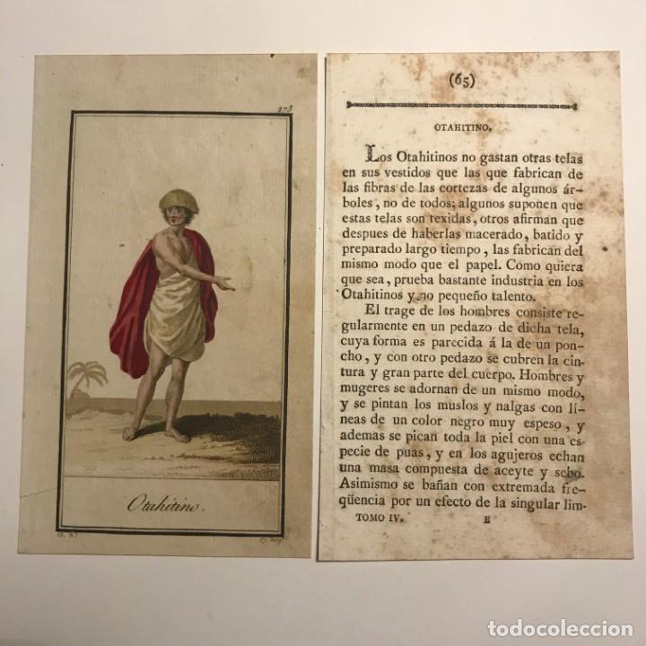 OTAHITINO 1790-1800 GRABADO ILUMINADO A MANO (Arte - Grabados - Antiguos hasta el siglo XVIII)