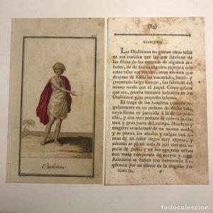 Otahitino 1790-1800 Grabado iluminado a mano