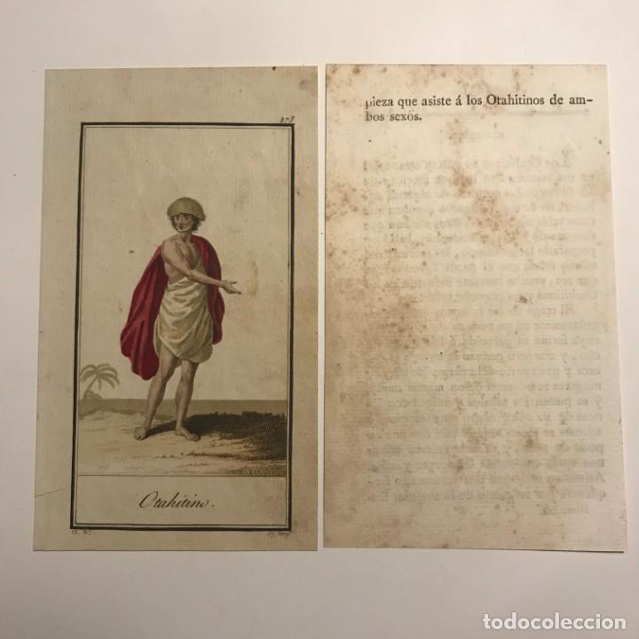 Arte: Otahitino 1790-1800 Grabado iluminado a mano - Foto 2 - 148330350