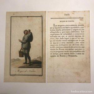 Mujer de Nortón 1790-1800 Grabado iluminado a mano