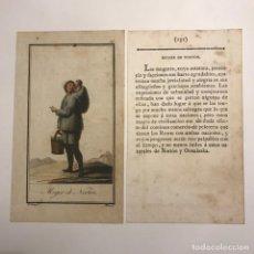 Arte: MUJER DE NORTÓN 1790-1800 GRABADO ILUMINADO A MANO. Lote 148330458