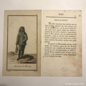 Hombre de Nortón 1790-1800 Grabado iluminado a mano
