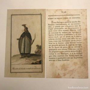 Hombre de Nootka vestido de ceremonia 1790-1800 Grabado iluminado a mano
