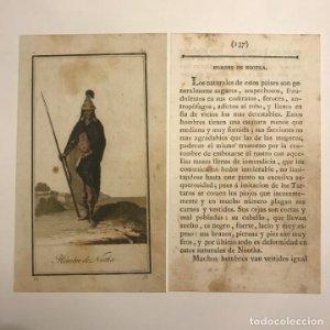Hombre de Nootka 1790-1800 Grabado iluminado a mano