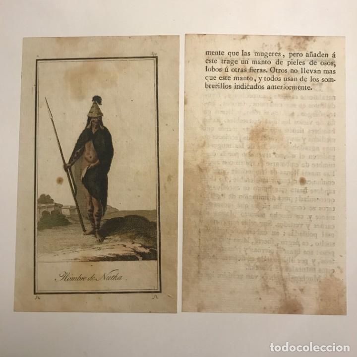 Arte: Hombre de Nootka 1790-1800 Grabado iluminado a mano - Foto 2 - 148330678