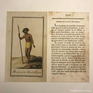 Hombre de la Isla de Pasqua 1790-1800 Grabado iluminado a mano
