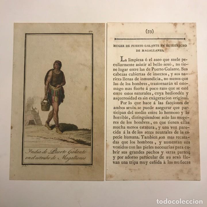 MUJER DE PUERTO GALANTE EN EL ESTRECHO DE MAGALLANES 1790-1800 GRABADO ILUMINADO A MANO (Arte - Grabados - Antiguos hasta el siglo XVIII)