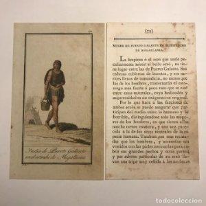 Mujer de Puerto Galante en el Estrecho de Magallanes 1790-1800 Grabado iluminado a mano