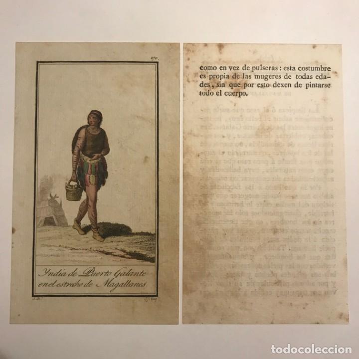 Mujer de Puerto Galante en el Estrecho de Magallanes 1790-1800 Grabado iluminado a mano - 148330802