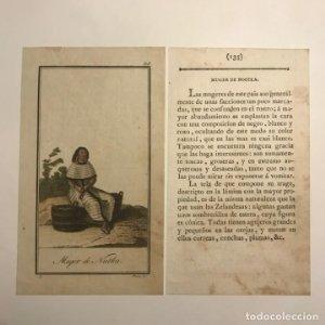 Mujer de la Isla de Nootka 1790-1800 Grabado iluminado a mano