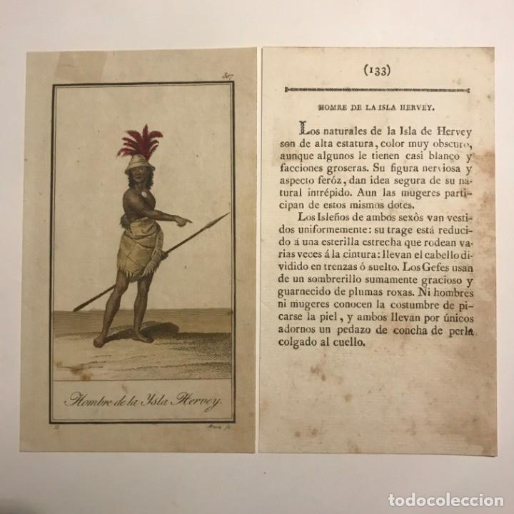 HOMBRE DE LA ISLA DE HERVEY 1790-1800 GRABADO ILUMINADO A MANO (Arte - Grabados - Antiguos hasta el siglo XVIII)
