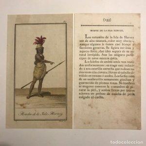 Hombre de la Isla de Hervey 1790-1800 Grabado iluminado a mano