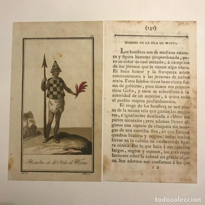 Hombre de la Isla de Watiu 1790-1800 Grabado iluminado a mano