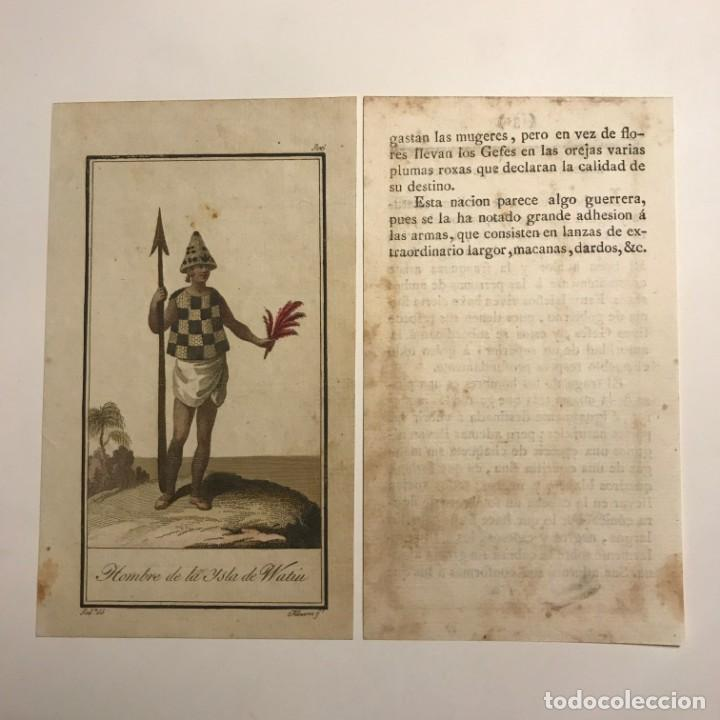 Arte: Hombre de la Isla de Watiu 1790-1800 Grabado iluminado a mano - Foto 2 - 148331046