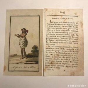 Mujer de la Isla de Watiu 1790-1800 Grabado iluminado a mano