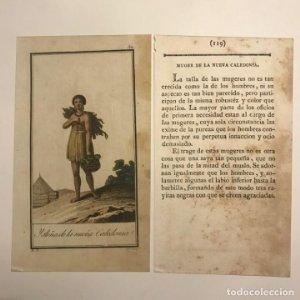 Mujer de la Nueva Caledonia 1790-1800 Grabado iluminado a mano