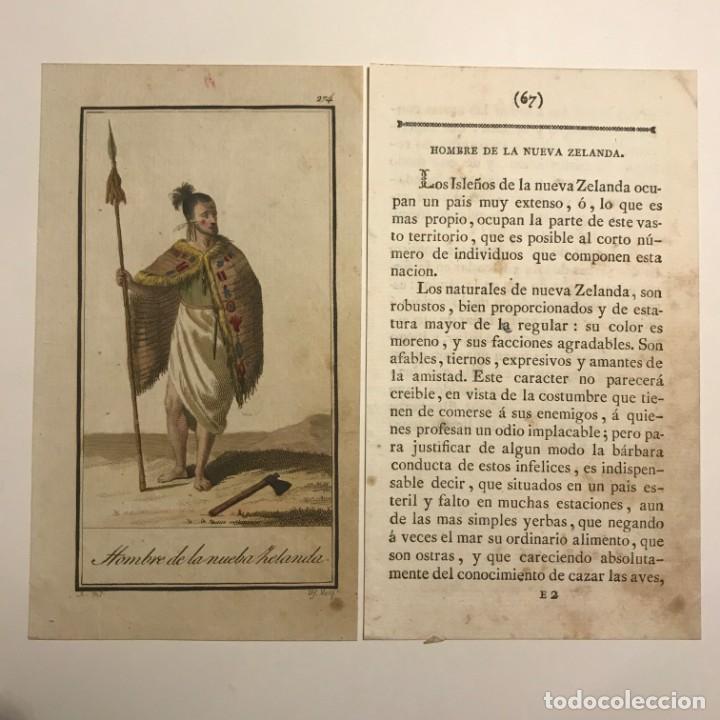 HOMBRE DE LA NUEVA ZELANDA 1790-1800 GRABADO ILUMINADO A MANO (Arte - Grabados - Antiguos hasta el siglo XVIII)