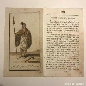 Hombre de la Nueva Zelanda 1790-1800 Grabado iluminado a mano