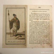 Arte: HOMBRE DE LA NUEVA ZELANDA 1790-1800 GRABADO ILUMINADO A MANO. Lote 148331386