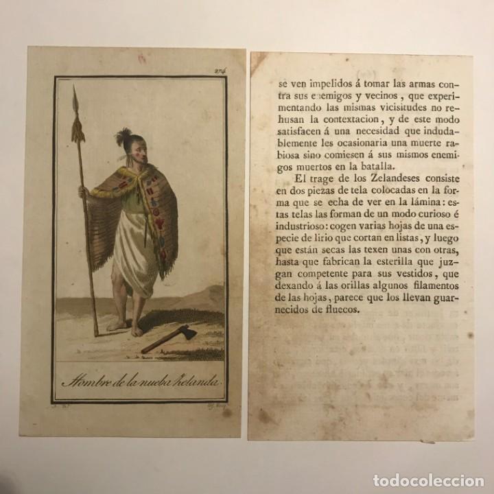 Arte: Hombre de la Nueva Zelanda 1790-1800 Grabado iluminado a mano - Foto 2 - 148331386