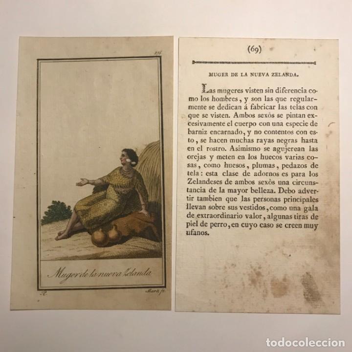 MUJER DE LA NUEVA ZELANDA 1790-1800 GRABADO ILUMINADO A MANO (Arte - Grabados - Antiguos hasta el siglo XVIII)