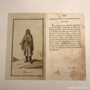 Patagona 1790-1800 Grabado iluminado a mano