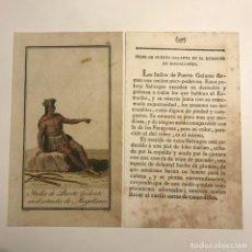 Arte: INDIO DE PUERTO GALLANTE EN EL ESTRECHO DE MAGALLANES 1790-1800 GRABADO ILUMINADO A MANO. Lote 148331506