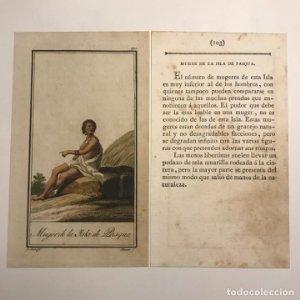 Mujer de la Isla de Pasqua 1790-1800 Grabado iluminado a mano