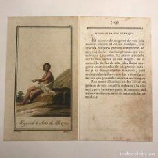 Arte: MUJER DE LA ISLA DE PASQUA 1790-1800 GRABADO ILUMINADO A MANO. Lote 148331558
